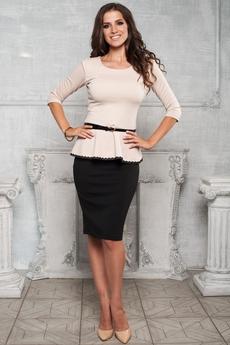 Костюм двойка: блуза с баской и юбка