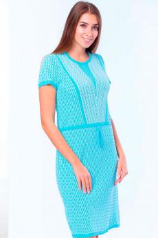 Голубое летнее вязаное платье Kvinto