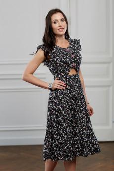 Черное платье в мелкий цветочек Look Russian